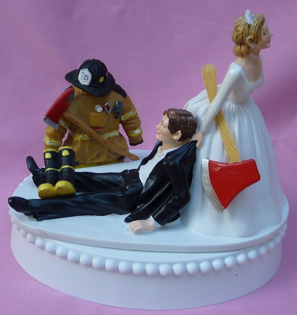 wedding cake topper fireman firefighter fire uniform boots axe groom themed w bridal garter humorous - Firefighter Wedding Rings