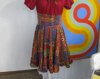 50s / 60s Handmade Psychedelic Swing Party Dress (M-L)