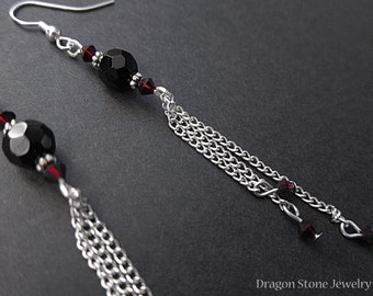 Onyx Chain Dangle Earrings with red sparkle Beads