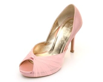 Pink Satin Wedding Heels. Pink Chiffon Wedding Heels. Custom Made Wedding Heels