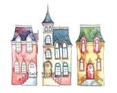 SALE - Postcard Little Street, Illustrated Postcard, Aquarel and Pen
