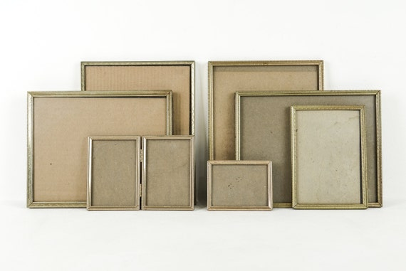 collection of vintage brass frames set of 7 frame gallery photo display