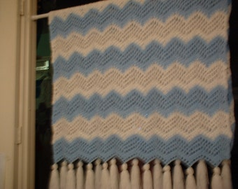 "Hand Crocheted Ripple Afghan Blue and White 40"" x 68"""
