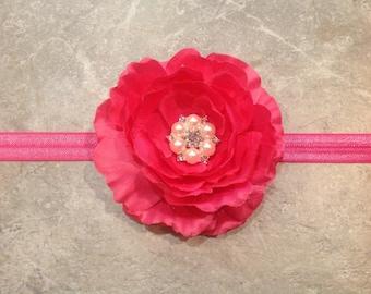 Baby headband, Pink Flower Headband, Shabby Chic Headband, Roses Headband -BL146