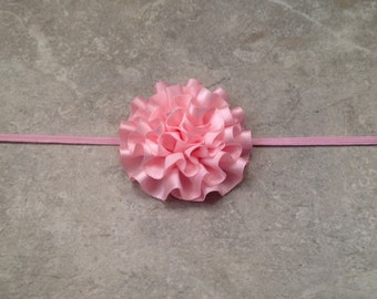 Pink Satin Flower Headband, Baby Headband, Newborn Headband, Newborn Photo Prop, Toddler Headband, Satin Flower Headband -BL191