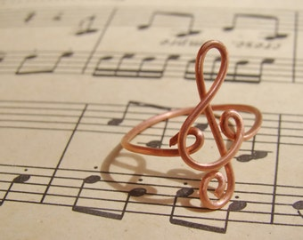 Treble Clef Ring Music Symbol Ring ~ Rose Gold color ring~ Music Note Musician Gift Music Teacher ~Adjustable Size