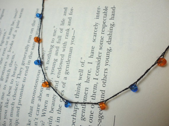 School Spirit, Team Colors, Simple Braid and Beads Necklace or Anklet