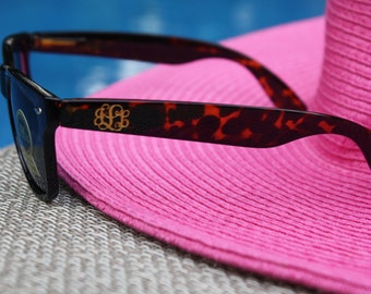 Monogrammed Tortoise Wayfarer Sunglasses