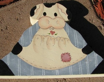 Country Crafts Cow with Blue Dress Shelf Sitting