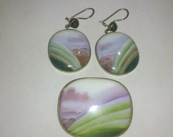 china/enamel brooch and earrings set