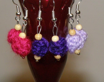 wool ball earrings and wooden beads