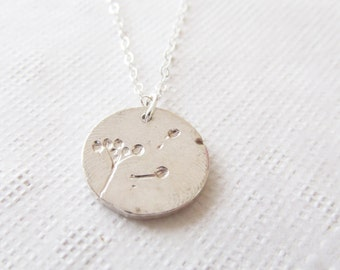 Dandelion Wish Necklace, Sterling Silver Necklace, Gift for Her