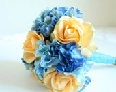 Real Touch Rose Hydrangea Wedding Bouquet. Champagne Roses Blue Hydrangeas Real Touch Bridal Bouquet & Groom's Boutonniere. Peach Wedding
