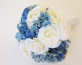 Something Blue Real Touch Bouquet. Blue Hydrangea Cream White Rose Peony Ranunculus Real Touch Bridal Bouquet & Groom's Boutonniere Set