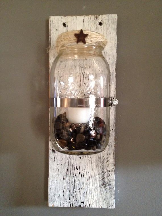 Mason Jar Wall Sconce Etsy : Items similar to Rustic Mason Jar Sconce on Etsy