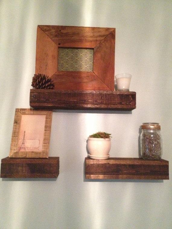 Items similar to floating pallet shelves on etsy for Pallet floating shelves
