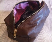 Tan Brown Leather Makeup Bag with Pink lining