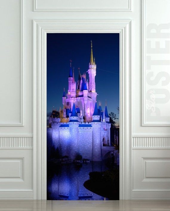 Door sticker disney castle palace park amusement mural by for Door mural stickers