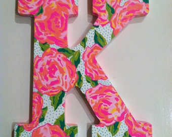 Hand-painted floral wooden letter