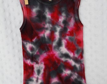 12 month hand dyed infant bodysuit sleeveless 12 month red and black