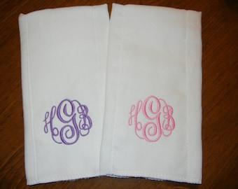 Monogrammed Burp Cloths - Set of 2
