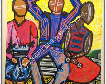 Three on Bench Original Painting by Erika York 30in by 30in Canvas