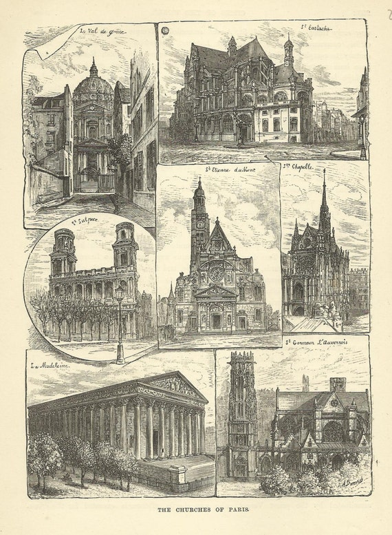 Paris Churches Wood Engraving Print 1880 France Wall Art Home