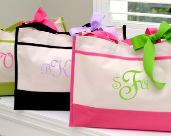 Personalized Wedding Bridesmaid Tote Gifts in Black, Hot Pink, Navy or Lime Monogrammed Tote