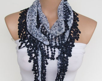 ON SALE - White and Navy Blue Flowered Scarf With Fringe-New Season Scarf-Headband-Necklace- Infinity Scarf- Spring Accessory-Long Scarf
