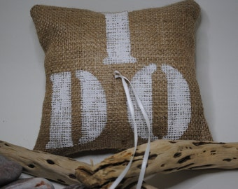 "Burlap/ jute ""I DO"" Wedding Ring Bearer Pillow"