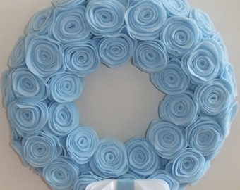 "Baby blue 12"" rosette wreath"