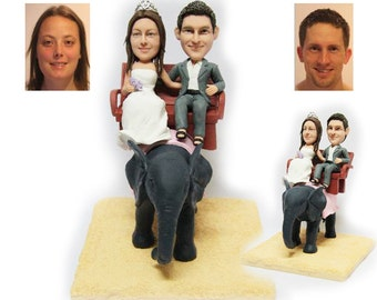 Personalised wedding cake topper - Riding an Elephant wedding cake topper (Free shipping)