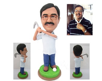 Golf player - personalized custom figurine 100% handmade (Free Shipping Worldwide)