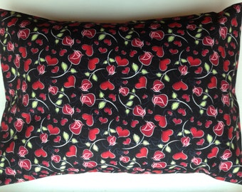 Travel Pillow Case / Standard  Pillow Case /  Red Hearts and Roses / Valentine's Day