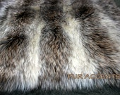 Faux Fur Fabric Gray Brown and Cream Long Hair Shaggy Coyote Stripe Baby Photography Prop, Craft, Sewing, Supplies