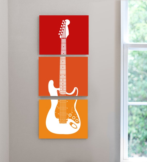 Items similar to rock n roll theme guitar nursery kids for Poster jugendzimmer