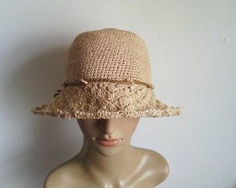 crocheted hat, raffia hat, straw hat, sun hat, summer hat,big lace brim hat