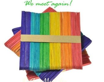 50 pcs rainbow colorful popsicle stick for DIY model, deco, bookmark,craft-6 different colors ice cream sticks