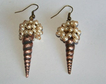 Earrings made from vintage materials, Unique Artisan Jewelry,  electroplated shells 110