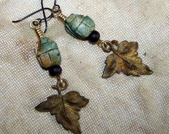 Earrings made of Vintage Materials, Scarab Earrings, Unique Artisan german Design 213