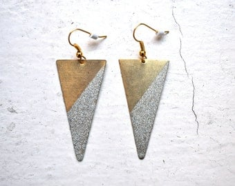 tall glitter dipped brass triangle earrings