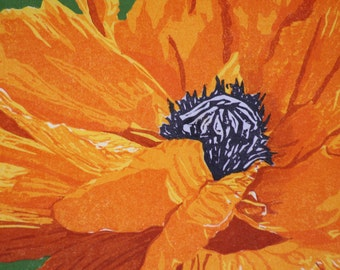Poppy Blossom  Woodblock print