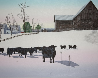 Moore Farm, North Pomfret, VT  woodblock