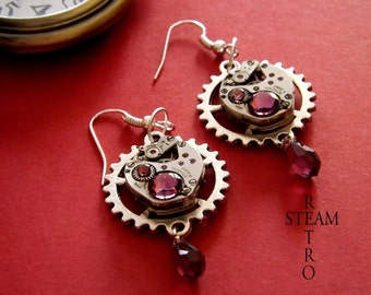 10% off sale17  Vintage watch movement Amethyst Swarovski Steampunk Earrings - Steampunk Jewelery * personalized jewelry