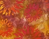 Bali batik 076-5 brown red with flowers in orange 0,5 m pure cotton fabric