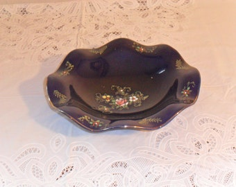 Vintage Decorative Cobalt Candy Dish with Floral Pattern