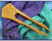Spanish Cedar Flat Hair Fork / Shawl Pin - Chess Bishop