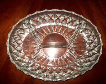 Oval Cut Glass Divieded by 4 Relish Dish