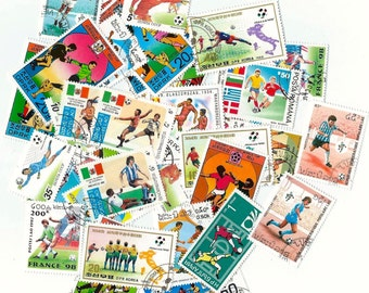 12 Postage Football Stamps, soccer stamps - Scrapbooking, collage, altered art