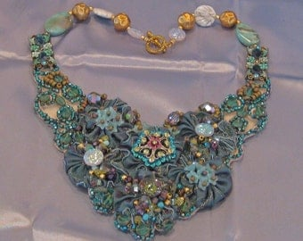 Elegant Hand Stitched Artisan Bib Style Necklace Using Mixed Materials